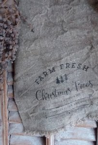 Shabby doek 'Farm fresh Christmas trees'