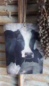 Paneel van kalkverf 'koe'