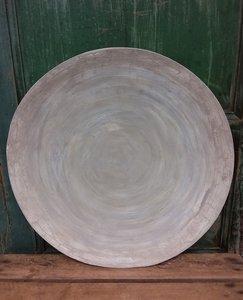 Houten schaal in taupe/wit, Cracquelure